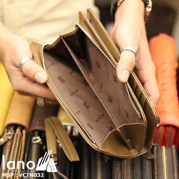 Ví cầm tay nam công sở da bò Lano thời trang lịch lãm VCTN032 - bên trong