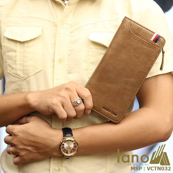 Ví cầm tay nam công sở da bò Lano thời trang lịch lãm VCTN032 - trên tay