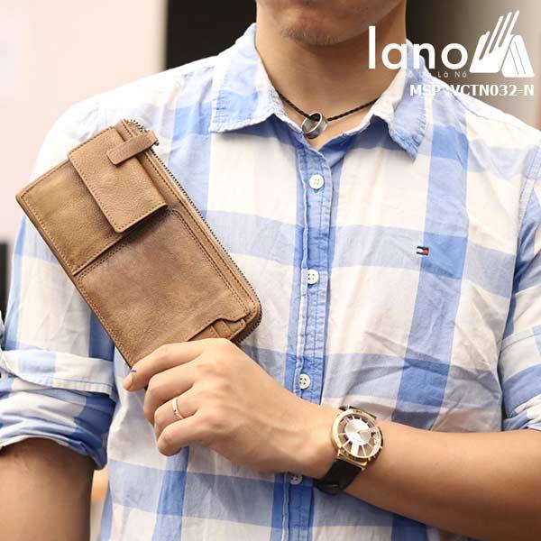Ví cầm tay nam công sở Lano thời trang tuyệt đẹp 2018 VCTN032-N trên tay