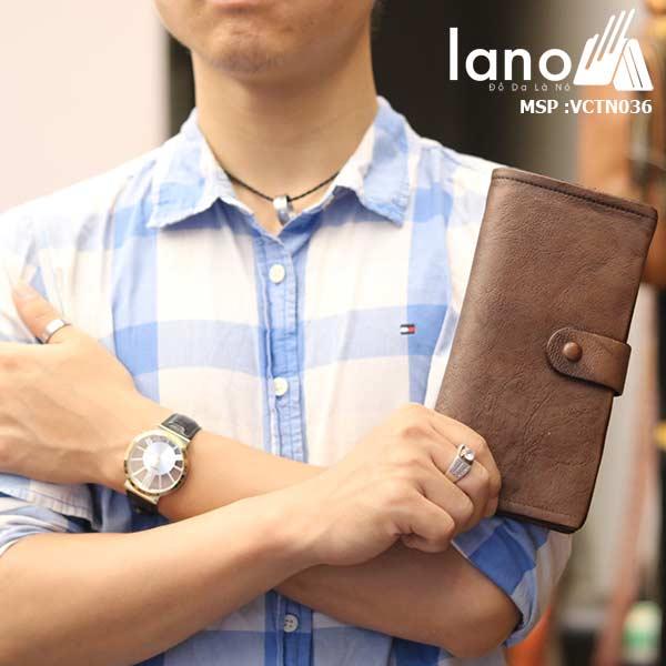 Ví cầm tay nam Lano da bò cao cấp mẫu mới 2018 VCTN036 - trên tay