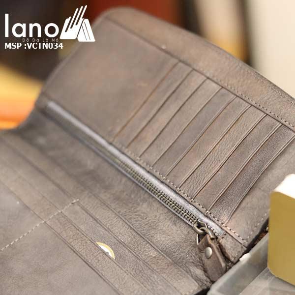 Ví cầm tay nam Lano da thật trẻ trung năng động VCTN034 - bên trong