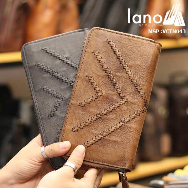 Ví da bò cầm tay Lano cao cấp sang trọng thời trang nhất VCTN043