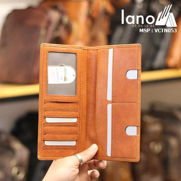 Ví dài cầm tay nam da bò Lano giá rẻ thời trang cao cấp VCTN053 - bên trong