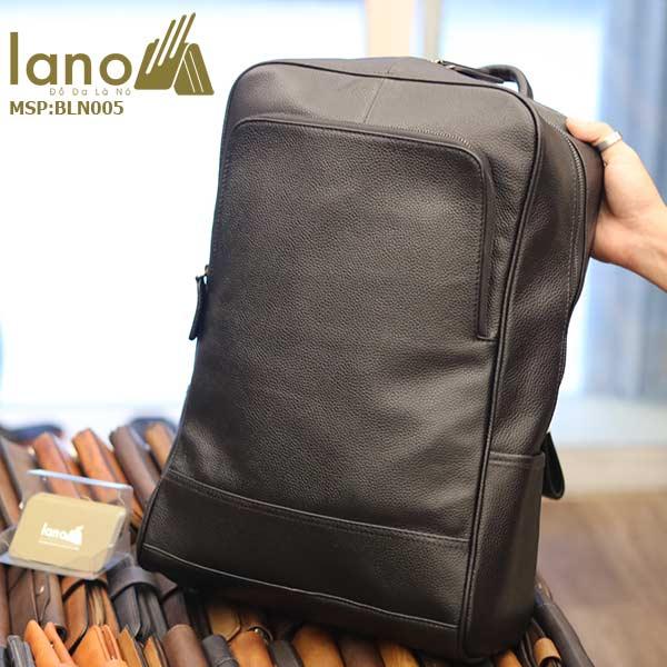 Ba lô nam da bò Lano thời trang công sở đựng laptop BLN05 nghiêng