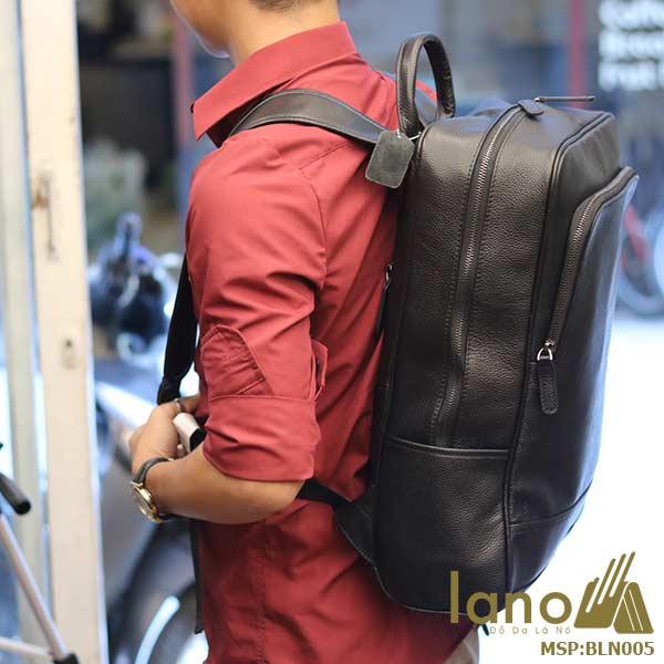 Ba lô nam da bò Lano thời trang công sở đựng laptop BLN05 đeo lưng