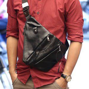 Túi da đeo ngực nam Lano thời trang độc đáo TDL25