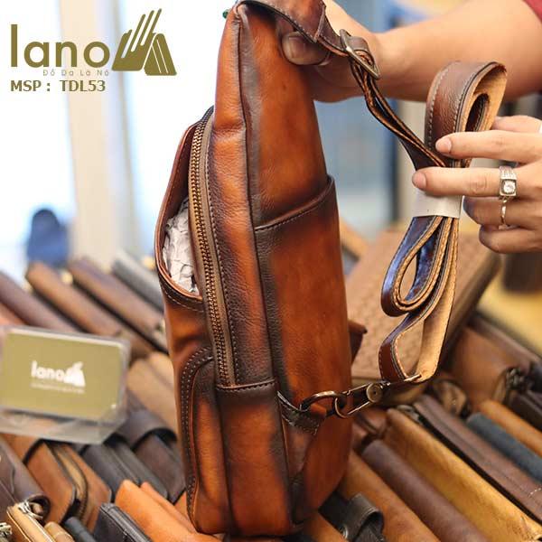 Túi da đeo trước ngựa nam Lano da bò thật TDL53 cạnh bên