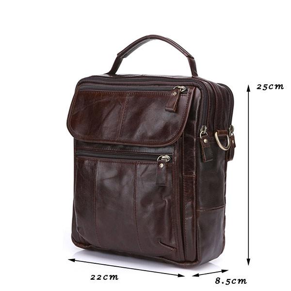 Túi da nam đựng iPad dạng hộp KT41 nâu đỏ