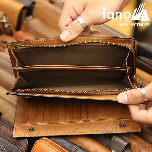 Ví dài cầm tay nam Lano da bò thời trang sang trọng VCTN055 - bên trong