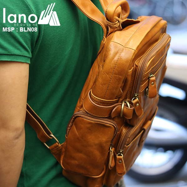 Ba lô da bò thời trang Lano BLN08 đeo lưng
