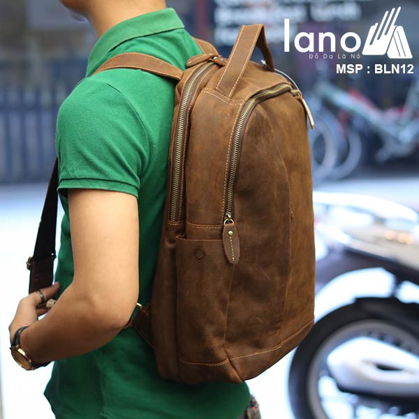 Balo da bò thời trang phong cách đựng Laptop Lano BLN12 - đeo lưng