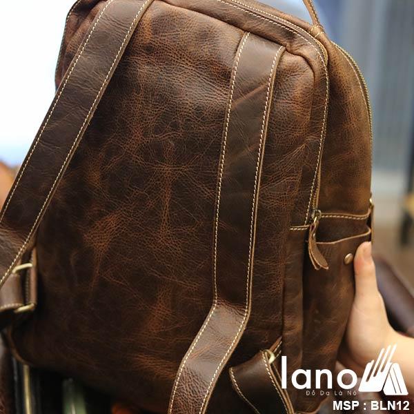 Balo da bò thời trang phong cách đựng Laptop Lano BLN12 - mặt sau