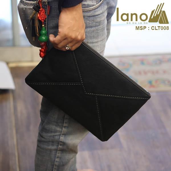 Túi cầm tay da bò thật Lano sang trọng lịch lãm CLT008 - cầm tay