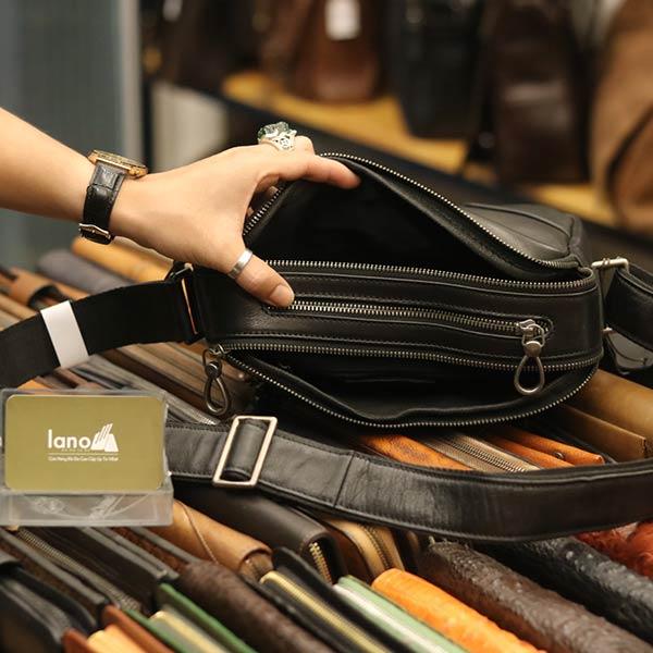 Túi đeo chéo công sở Lano da bò thời trang tiện lợi KT112 - ngăn trong