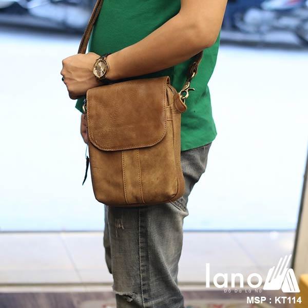 Túi đeo chéo da bò cao cấp Lano sang trọng thời trang tiện lợi KT114 - đeo chéo