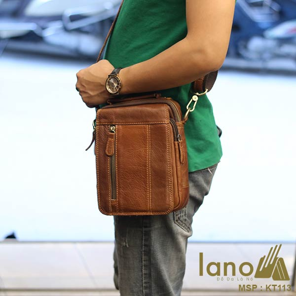 Túi đeo chéo nam Lano da thật loại nhỏ KT113 - đeo chéo