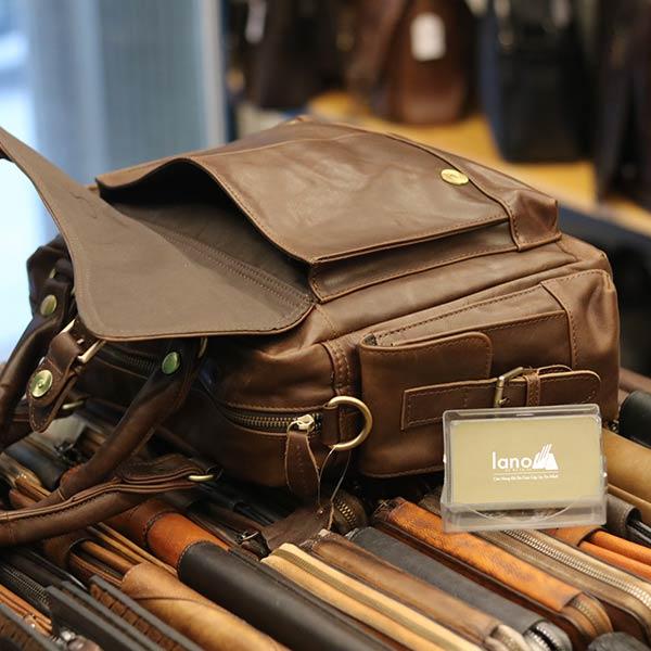 Túi Trống Da Thật Thời Trang Cao Cấp Lano TT05 - cạnh bên