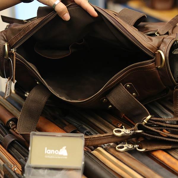 Túi trống du lịch da bò thời trang Lano cá tính TT06 - ngăn trong