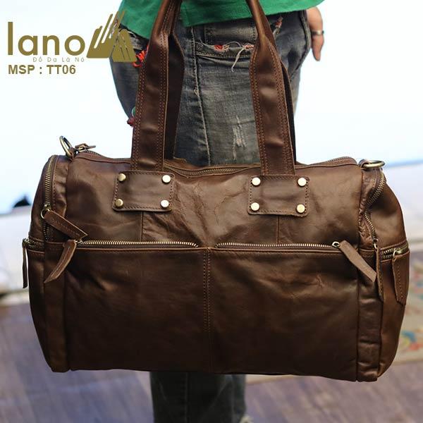 Túi trống du lịch da bò thời trang Lano cá tính TT06 - xách tay