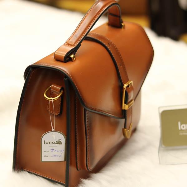 Túi xách nữ da thật dáng đẹp Lano TXN003 - cạnh bên