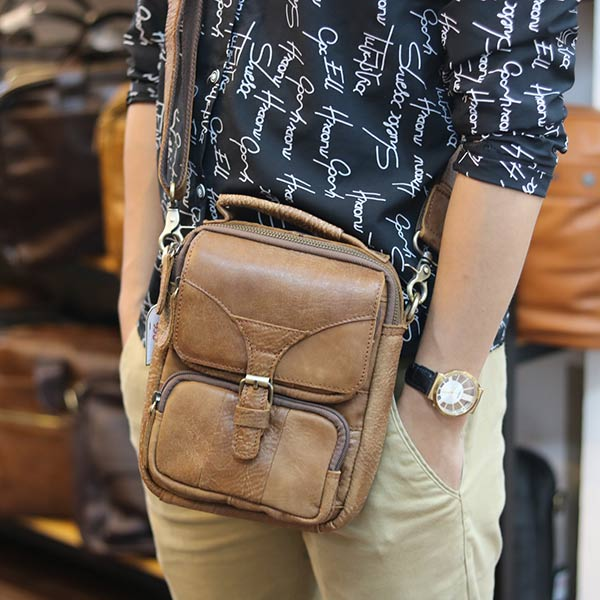 Túi đeo chéo nam mini da bò Lano KT118