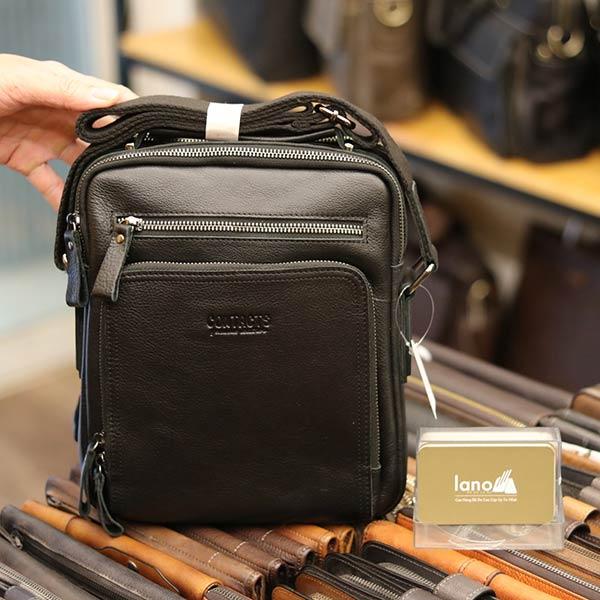 Túi da nam Lano cao cấp đựng iPad có tay xách Contact19 màu đen