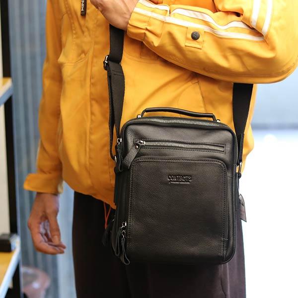 Túi da nam Lano cao cấp đựng iPad có tay xách Contact19 màu đen đeo chéo