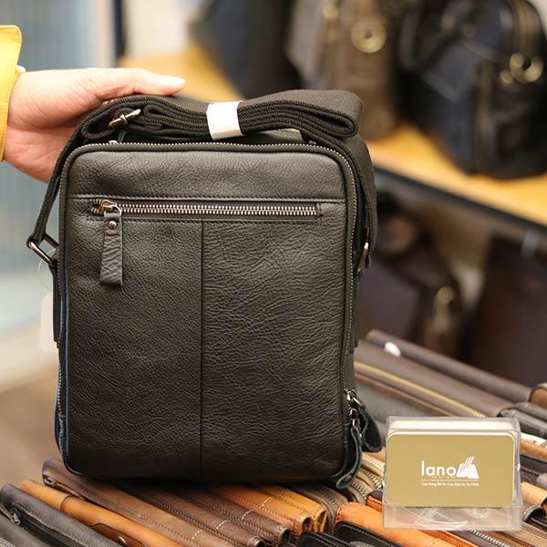 Túi da nam Lano cao cấp đựng iPad có tay xách Contact19 màu đen mặt sau