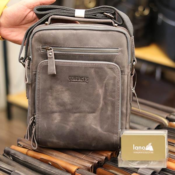 Túi da nam Lano cao cấp đựng iPad có tay xách Contact19 màu ghi đá