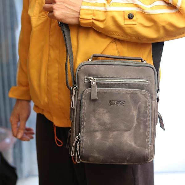Túi da nam Lano cao cấp đựng iPad có tay xách Contact19 ghi đá đeo chéo