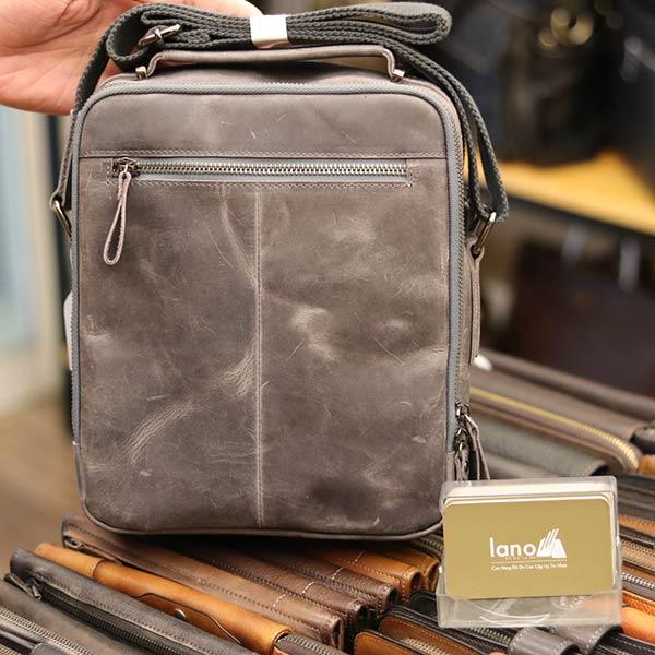 Túi da nam Lano cao cấp đựng iPad có tay xách Contact19 ghi đá mặt sau