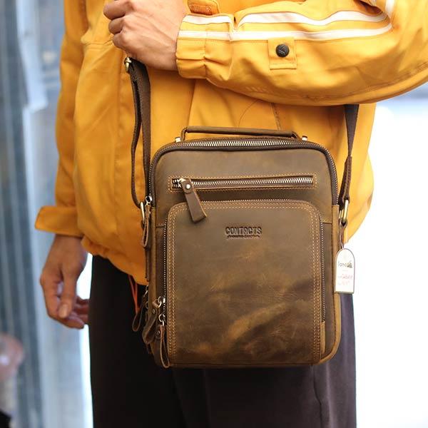 Túi da nam Lano cao cấp đựng iPad có tay xách Contact19 nâu sẫm đeo chéo