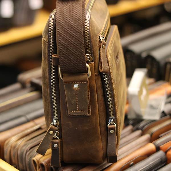 Túi da nam Lano cao cấp đựng iPad có tay xách Contact19 thân túi