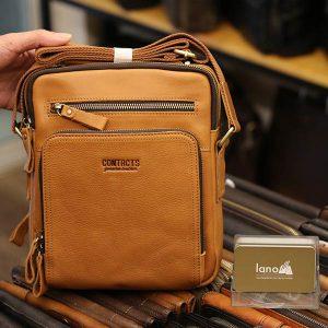 Túi da nam Lano cao cấp đựng iPad có tay xách Contact19 vàng cam