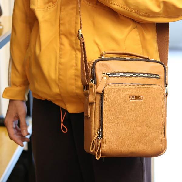 Túi da nam Lano cao cấp đựng iPad có tay xách Contact19 vàng cam đeo chéo