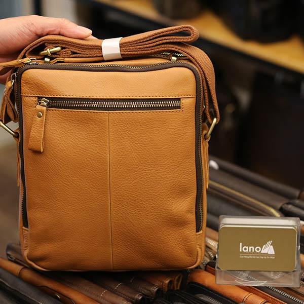 Túi da nam Lano cao cấp đựng iPad có tay xách Contact19 vàng cam mặt sau