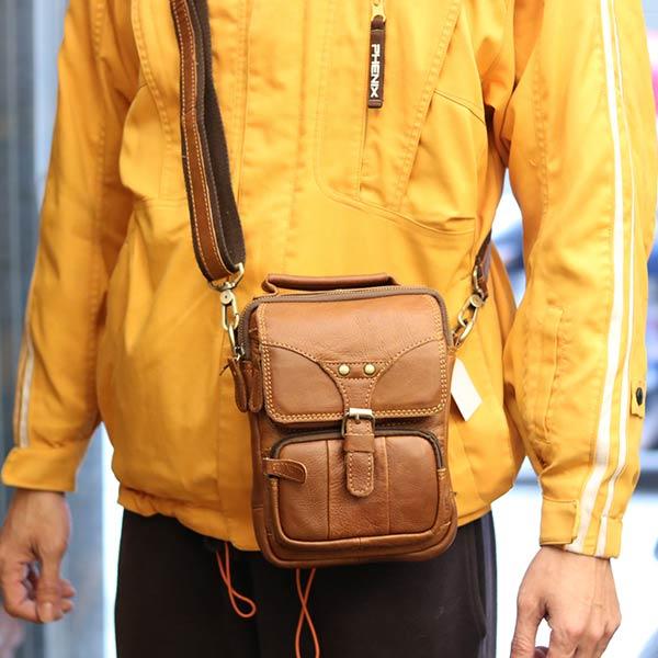 Túi đeo chéo nam mini da bò Lano KT118 đeo chéo