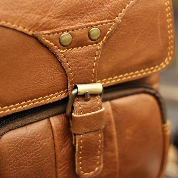Túi đeo chéo nam mini da bò Lano KT118 khóa cách điệu