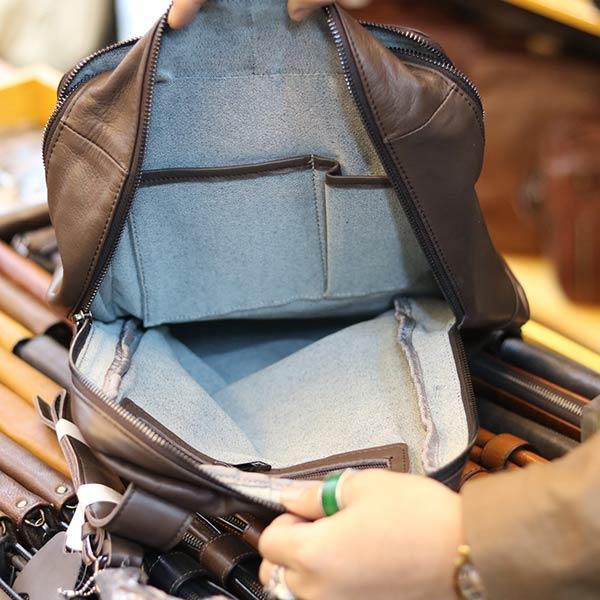 Balo mini Lano thời trang làm từ da bò thật BLN18 - ngăn trong