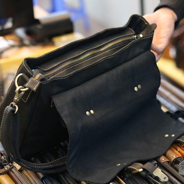 Cặp nam công sở đựng laptop 14 inch làm từ da bò cao cấp CD89 mở nắp ngăn đựng