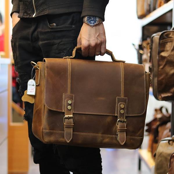 Cặp nam công sở đựng laptop 14 inch làm từ da bò cao cấp CD89 xách tay thời trang