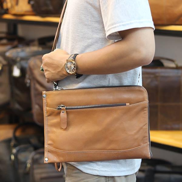 Túi cầm tay nam da bò mẫu mới 2019 CLT14 đeo chéo