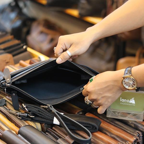 Túi cầm tay nam da bò thời trang mới nhất 2019 Lano CLT16 ngăn trong