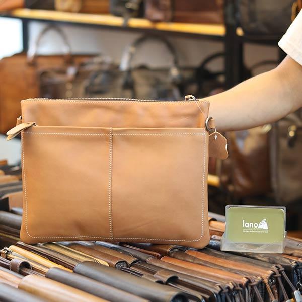 Túi cầm tay nam da bò thời trang mới nhất 2019 Lano CLT16 mặt sau