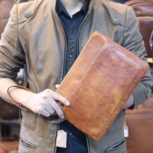 Túi da nam cầm tay Lano nam tính lịch lãm CLT12 - cầm tay