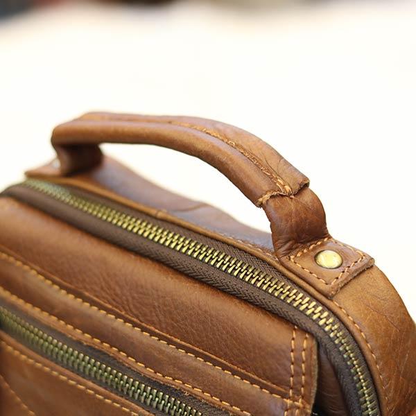 Túi da nam mini Lano da bò có quai xách KT124 - tay xách