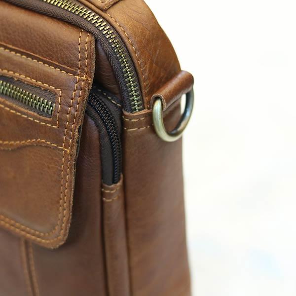 Túi da nam mini Lano da bò có quai xách KT124