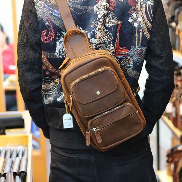 Túi bao tử đeo chéo ngực da bò sáp xịn cực thời trang TDL56 đeo sau lưng