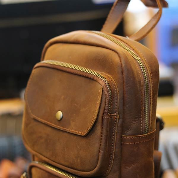Túi bao tử đeo chéo ngực da bò sáp xịn cực thời trang TDL56 ngăn phụ phía trên