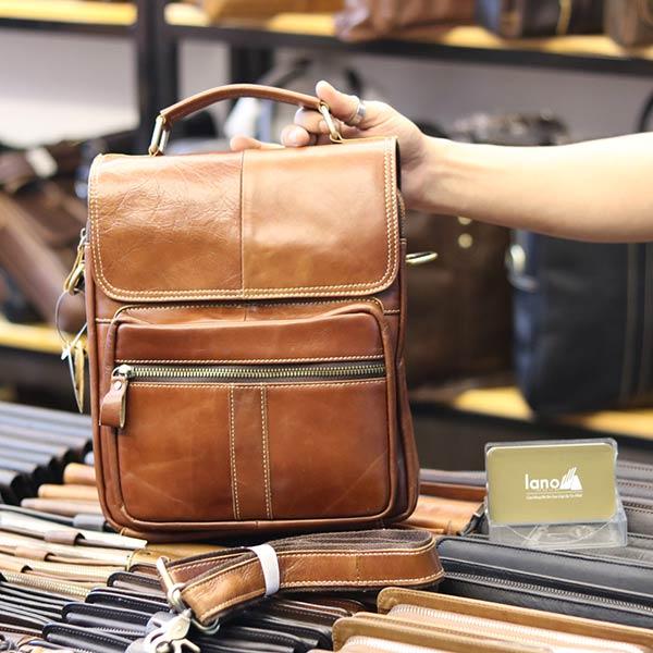 Túi da nam đeo chéo đựng iPad 2 ngăn khóa có tay xách KT135